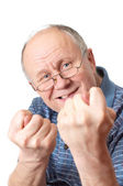 Bald senior man fooling around — Stock Photo