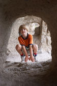 Boy behind tunnel — Stock Photo