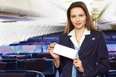 Air hostess (stewardess) — Stock Photo