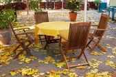 Autumn empty terrace table — Stock Photo