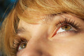 Blond girl's eye closeup — Stock Photo