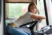 Beauty at trolleybus cabin — Stock Photo
