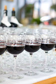 Red wine glasses, selective focus — Stock Photo