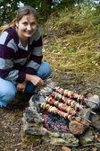 Outdoors kebab preparing — Stock Photo