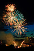 Fireworks in the city — Stock Photo