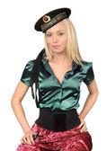 Blond wearing soviet sailor cap — Stock Photo