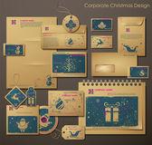 Christmas simgeleri ile kurumsal yılbaşı tasarım — Stok Vektör