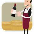 Stock Vector: Cartoon Winemaker