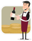 Cartoon Winemaker — Stock Vector