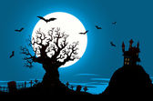 Halloween Poster - Haunted House And Evil Tree — Stock Vector