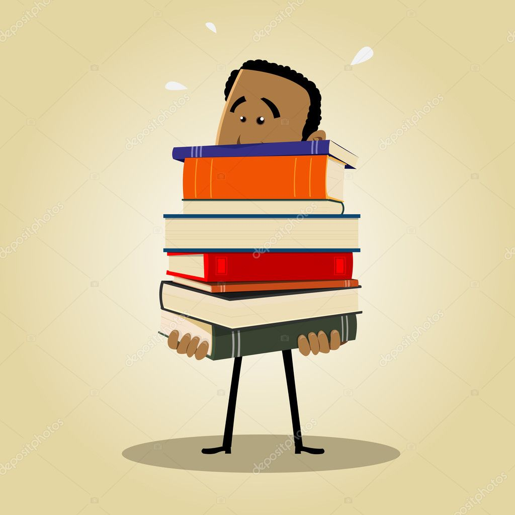 Illustration of an afro man busy librarian holding a pile of books — Stock Vector #7848722