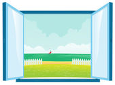 Vista al mar por la ventana — Vector de stock