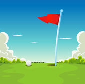 Putting Green - Golf Ball And Flag — Stock Vector
