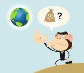 Gorilla Businessman Wanting to Make Money With Earth — Stock Vector