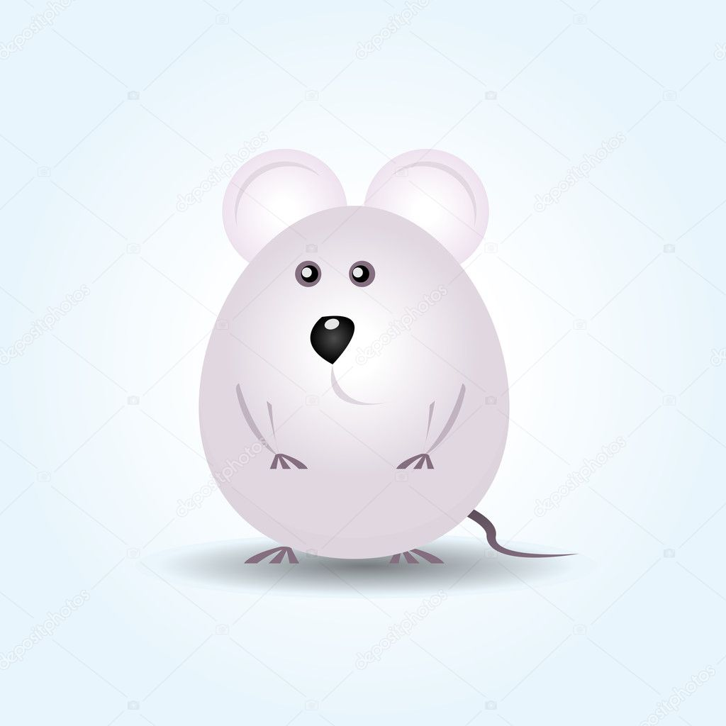 Illustration of a young little rounded and tiny happy grey mouse  Stock Vector #7851384