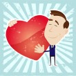 Man In Love Holding A Heart — Stock Vector