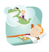 Cartoon Child Dreaming — Stock Vector