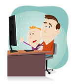 Daddy and son surfing on the net — Stock Vector