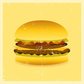 Grunge Hamburger — Stock Vector