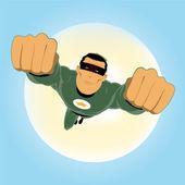 Comic-like Green Super-Hero — Stock Vector