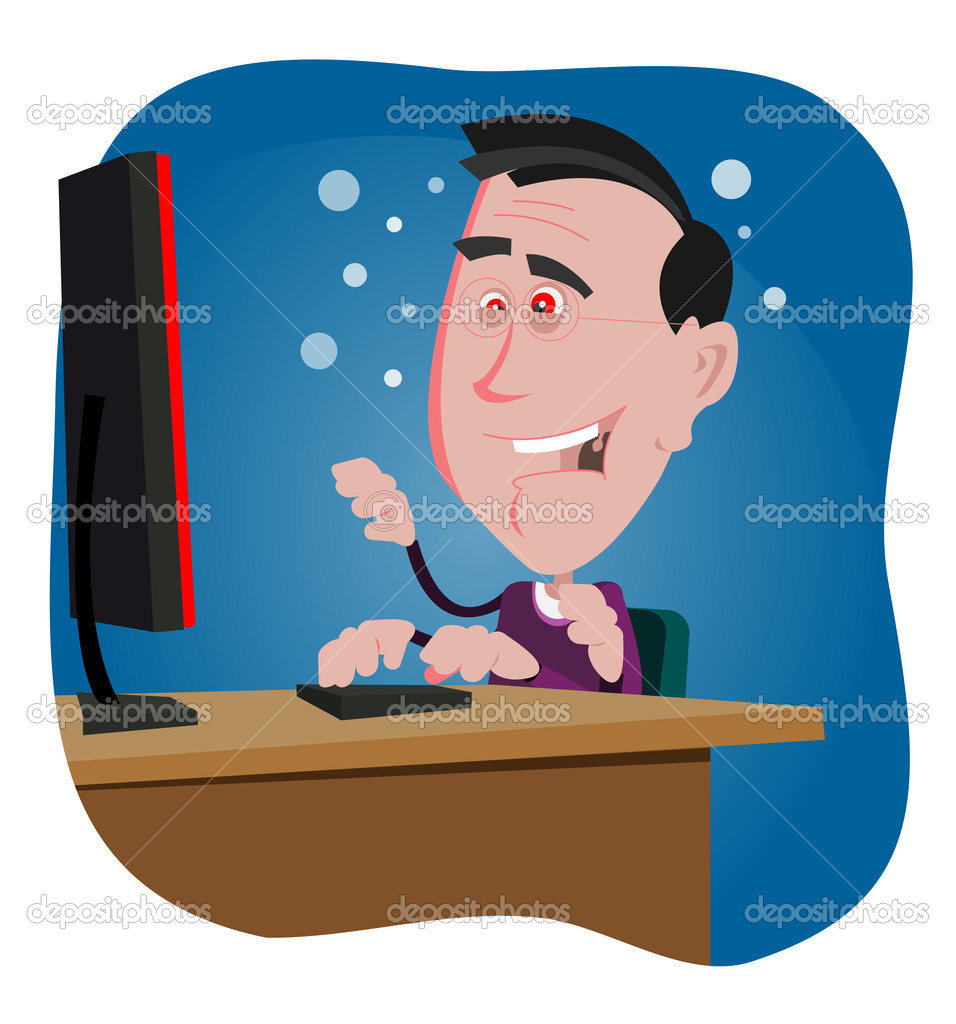 Illustration of a computer addicted cartoon man working in the night — Stock Vector #7866545