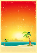 Exotic Beach Grunge Postcard — Stock Vector