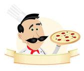 Chef Pizza Restaurant Banner — Stock Vector
