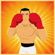Grunge Boxer In Guard Position — Vector de stock #7885078