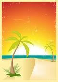 Exotic Beach Grunge Postcard — Stock Vector