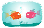 Fishes In Love — Stock Vector