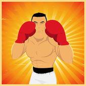 Boxeador grunge en posición de guardia — Vector de stock
