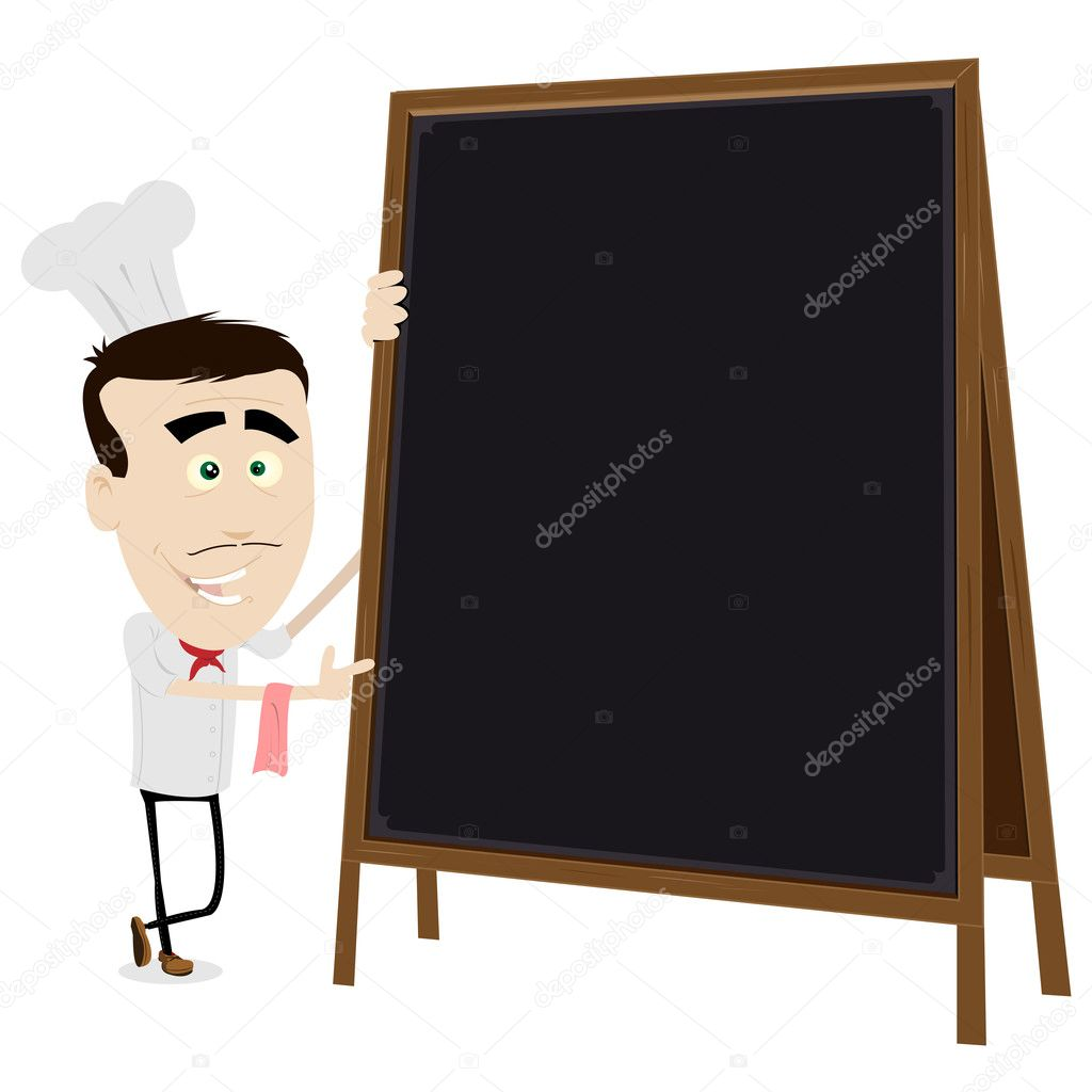 Illustration of a young chef cook holding a blackboard to put your message in — Stock Vector #7883060