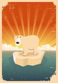 White Polar Bear Vintage Grunge Poster — Stock Vector