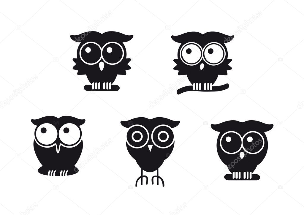 Funny graphic owls in black design set — Stock Vector #7789501