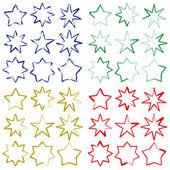 Brushing stars in four colours — Stock Vector