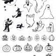 Pumpkins, witches and ghosts - halloween icons — Stock Vector #7863238