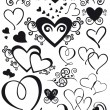 Mixed shape hearts - Stockvectorbeeld