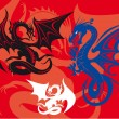 Three dragons on red background — Stock Vector #7880665