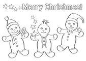 孩子们的姜饼圣诞人 — 图库矢量图片