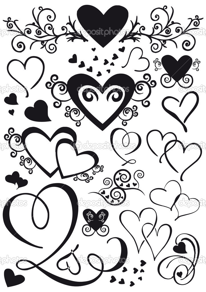 Set of mixed shape hearts isolated in black — Grafika wektorowa #7880630