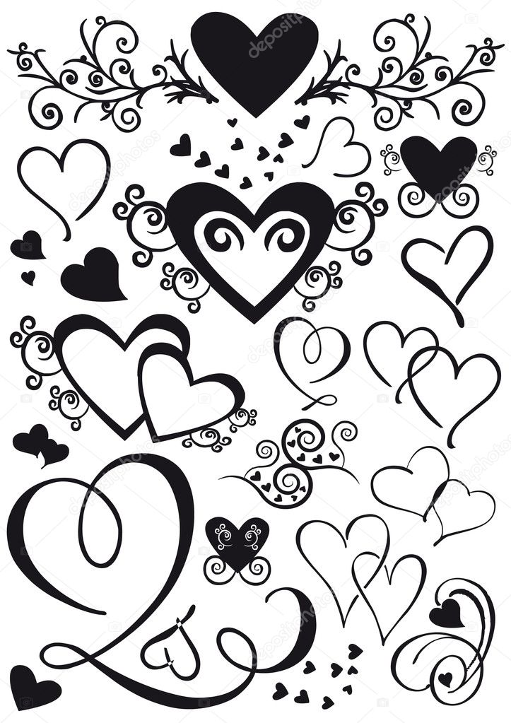 Set of mixed shape hearts isolated in black — 图库矢量图片 #7880630