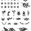 Set of geometric decorations and tribals tattoos — 图库矢量图片
