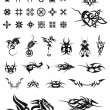 Set of geometric decorations and tribals tattoos — Imagens vectoriais em stock