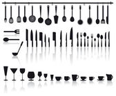 Kitchen tools, glasses and cutlery — Stock Vector