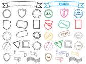 σύνολο εκτυπώσεις, σφραγίδες και γραμματόσημα — Διανυσματικό Αρχείο