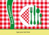 Italian restaurant and flag colours table cloth — Stock Vector