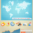 Infographics. World map, flags of different countries and diagrams — Stock Vector