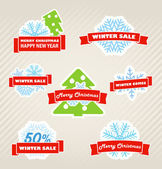 Winter shopping labels set — Stock Vector