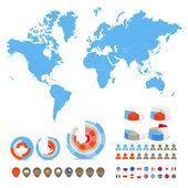 Infographics. världskartan, flaggor i olika länder och scheman och ikoner — Stockvektor