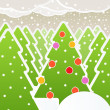 Stock Vector: Abstract Christmas forest
